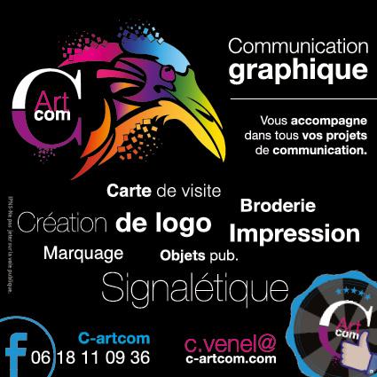 Flyer de C-artcom avec son logo et ses services: impression, création logo, carte de visite, broderie, textile personnalisé, signalétique.